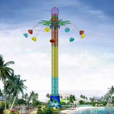 China 42m Amusement Park Sky Drop Ride / Drop Tower Ride With 9 Cabins factory