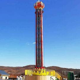 Spin Drop Free Fall Tower / Drop Tower Ride With Colorful LED Lights
